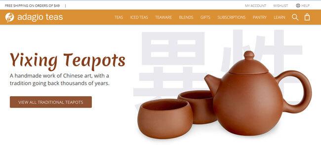 Adagio Teas Homepage