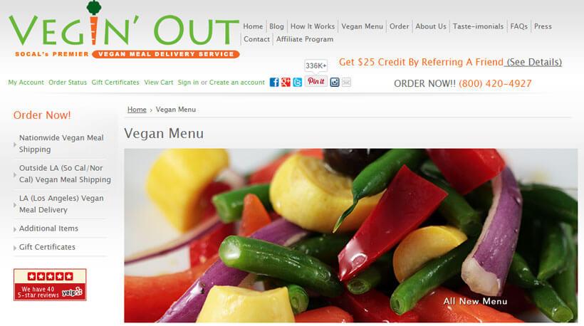 vegin out vegan menu