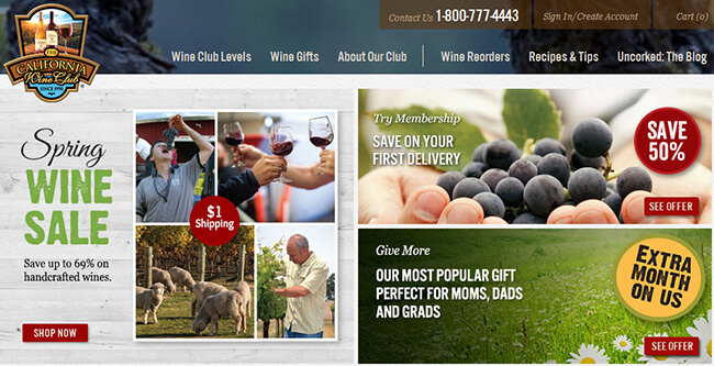 California Wine Club homepage
