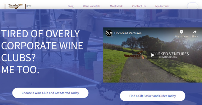 Uncorked Ventures printscreen homepage