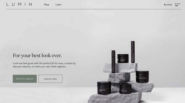 Lumin printscreen homepage